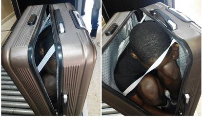 The suitcase with the 19-year-old inside.