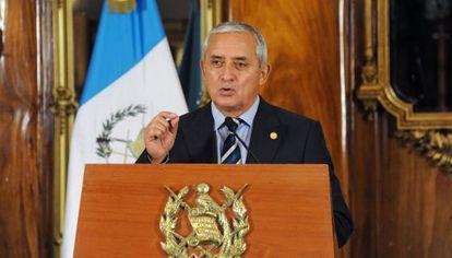 Otto Pérez Molina at a press conference on Thursday.