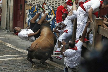 A dangerous moment during Day 2 of San Fermines 2016 in Pamplona.