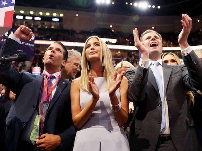 Donald Trump's three children celebrate their father's nomination.
