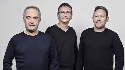 Ferran Adrià (l) with Andoni Luis Aduriz and Ferran's brother Albert.