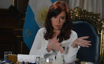 Cristina Fernández gives a speech on Tuesday.