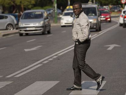 Albert Yaka on the way to his office in Seville.