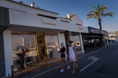 A shopping street in Puerto Banús in Marbella in mid-July.