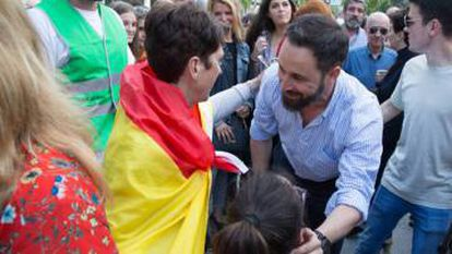 Vox president Santiago Abascal greets a supporter in June.