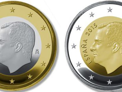 One-euro and two-euro coins with the image of King Felipe VI.