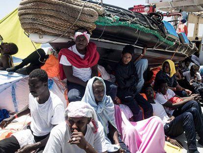 Migrants on board the 'Aquarius.'