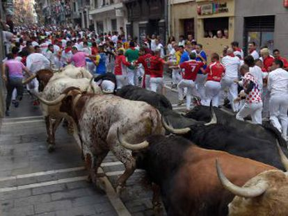 The animals from the Fuente Ymbro stockbreeder lived up to their reputation as some of the fastest to run the Pamplona streets
