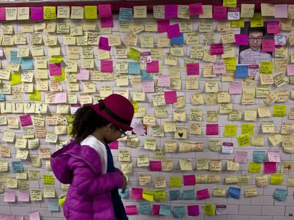 Messages against Trump's victory inside the New York subway.