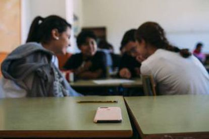 Students during a sex education class in a high school in Avilés.