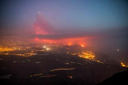 Lava from the volcano in La Palma reaches the sea.