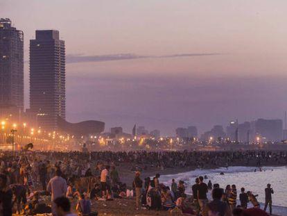 A midsummer party on the city's Barceloneta beach.