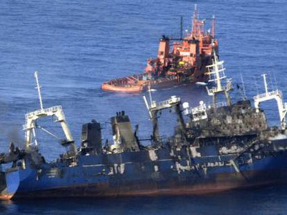 The Russian fishing vessel, viewed on Monday from an Air Force airplane.