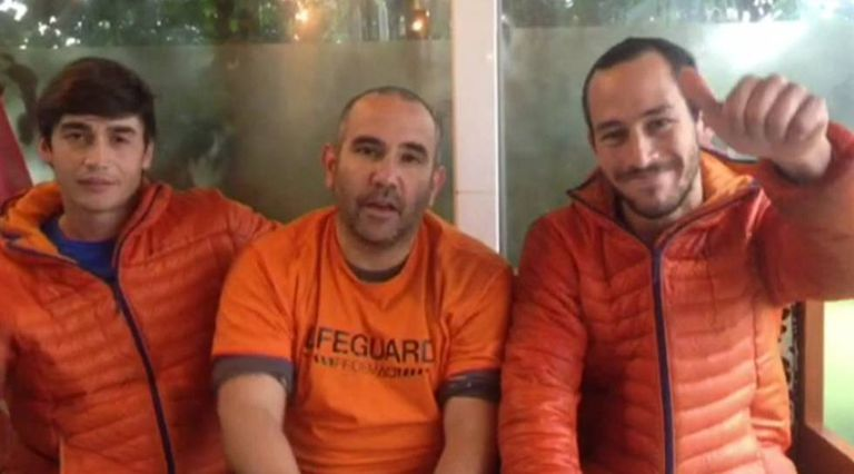 Freed Spanish firefighters Enrique González, Julio Latorre and Manuel Blanco.