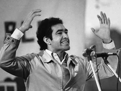Justiniano Martínez at a party rally in Barcelona in 1983.