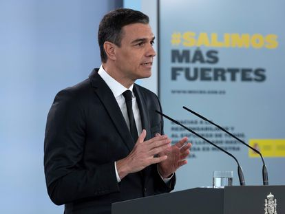 Prime Minister Pedro Sánchez during Sunday's press conference.