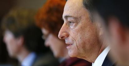 ECB President Draghi addresses the European Parliament last month.
