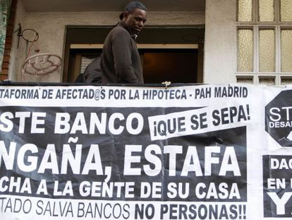 A protest action in Madrid against evictions.