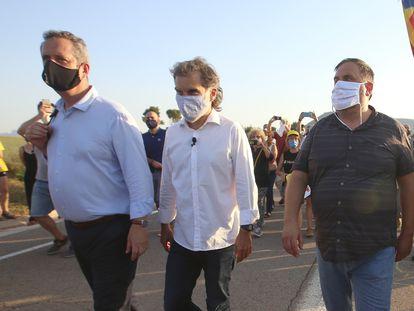 Left to right: Joaquim Forn, Jordi Cuixart, Oriol Junqueras and Raul Romeva entering Lledoners penitentiary.