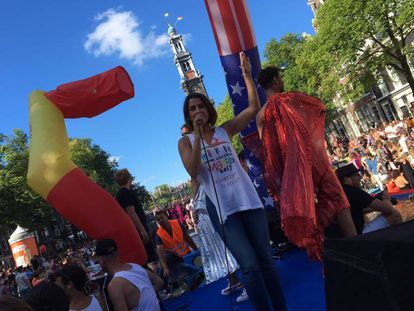 Spanish singer Barei in Amsterdam, during the festivities where Madrid officially received the baton to take over as the seat of Euro Pride.