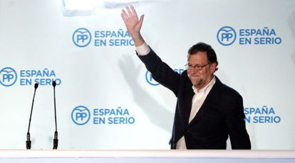 Rajoy at Popular Party headquarters after learning the election results on Sunday.
