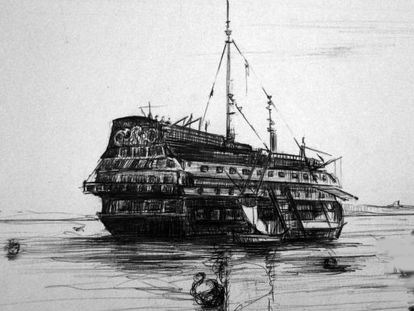 A drawing of one of the nine prison ships by Adolfo Valderas.