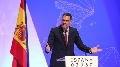 Spain's Prime Minister Pedro Sánchez at the presentation of the plan on Thursday in Madrid.