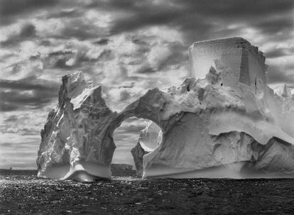 One of the images from the exhibition, showing an iceberg close to the South Shetland Islands in Antarctica.