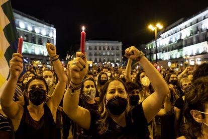 A protest against gender violence in Madrid's Puerta del Sol on June 11.