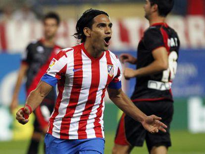 Atlético Madrid's Ramadel Falcao celebrates his winning goal against Rayo Vallecano.