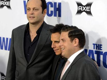 Vince Vaughn, Ben Stiller and Jonah Hill at the premiere of 'The Watch'.