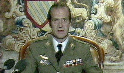 Juan Carlos I addressing Spaniards on February 23, 1981.