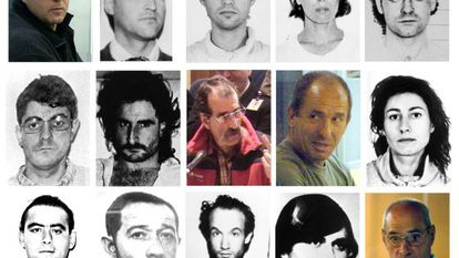A montage of the ETA inmates who could benefit from the ECHR decision, with Inés del Río second-right on the top row.