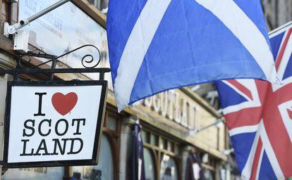 The Union Jack flies in Scotland.