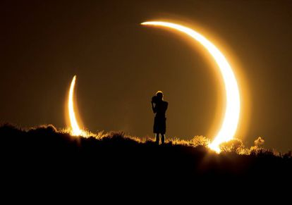 Today's eclipse will be visible shortly before sunset in Spain.