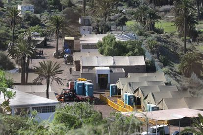 A camp set up on military premises in Barranco Seco, in Gran Canaria.