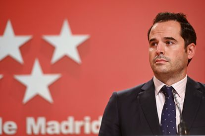 Madrid deputy premier Ignacio Aguado at a joint press conference on Wednesday.