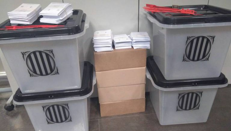 A photo of ballots and ballot boxes seized by police.