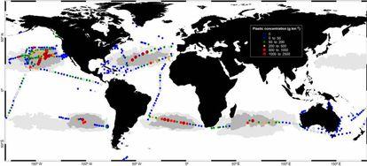 Plastic concentration in grams per square kilometer.