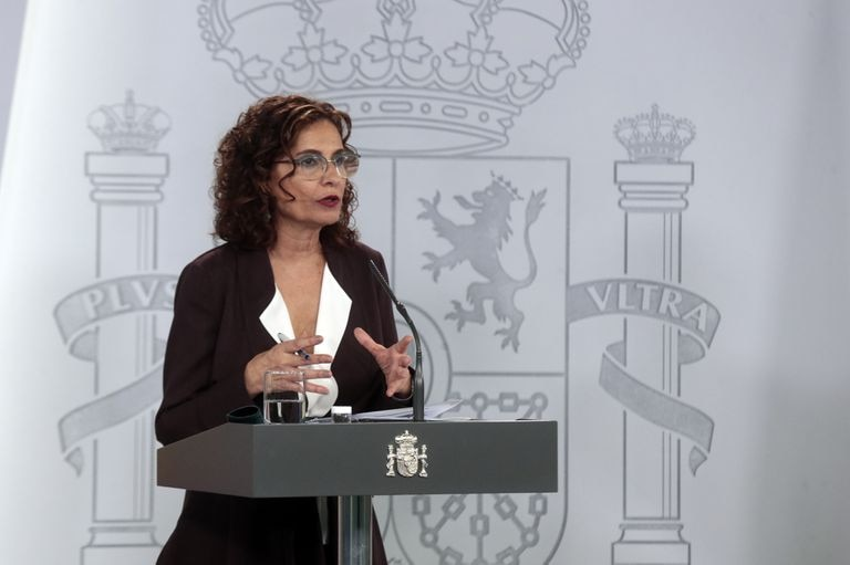 Finance Minister and government spokesperson María Jesús Montero during a news conference on Tuesday.