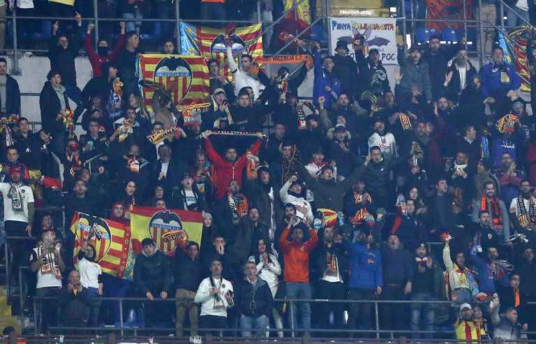 Valencia supporters during the soccer match between Atalanta and Valencia in Milan.
