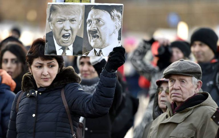 Protesters in Helsinki, Finland, in January 2017.