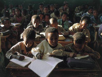 Schoolchildren in a class in Gondar, Ethiopia.