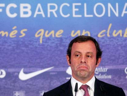 Barcelona's president Sandro Rosell at a news conference near the Camp Nou stadium in Barcelona in 2013