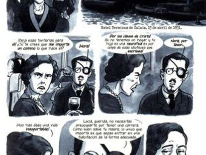 A panel from The Dotter of Her Father's Eyes, which has been translated into Spanish.