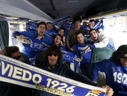 Members of the Peña Azul Oviedo fan club on their way to last weekend's match against Atlético Madrid B.