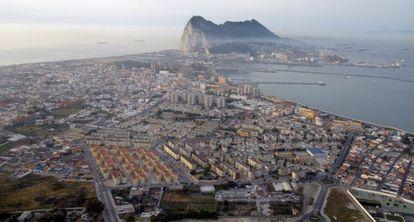 An aerial view over the Rock of Gibraltar and the Spanish town of La Línea de la Concepción.