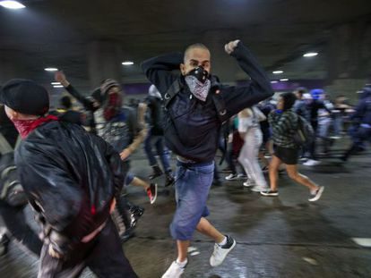 Students protesting in São Paulo on Tuesday against public transportation fare hikes.