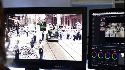 More than 150,000 frames were colorized digitally.