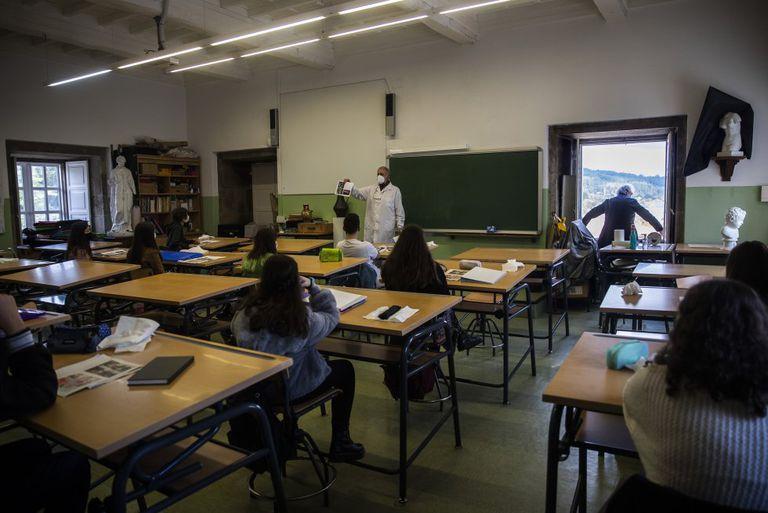 Students at the Rosalia de Castro Secondary School in Santiago de Compostela, Spain.